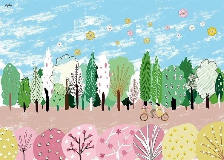 Season_Spring - illustration, painting - yebin   ello