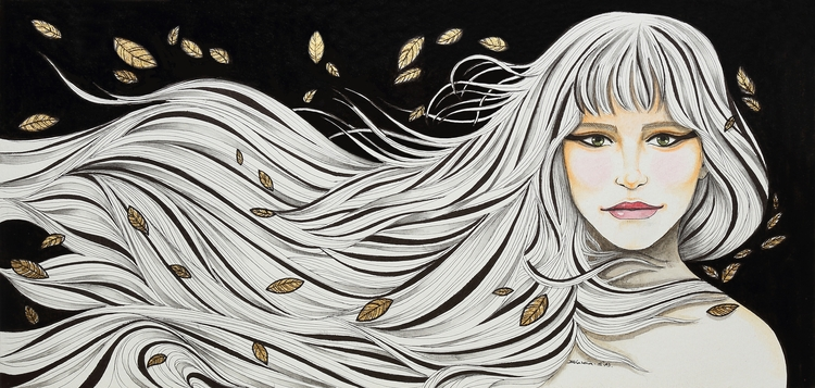 Autumn Gold - illustration, lady - bhavanasn | ello