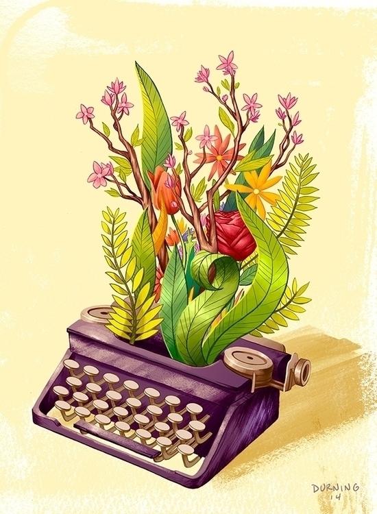 typewriter, flowers, illustration - timdurning | ello