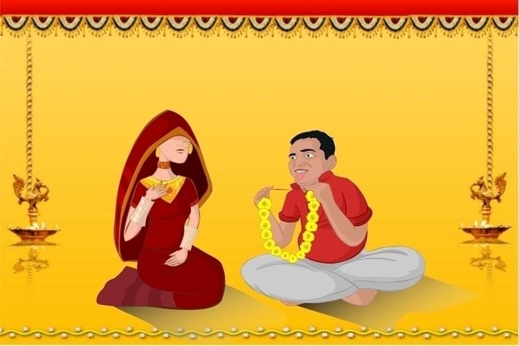 Wedding Bride Groom  - illustration - vermabhishek | ello