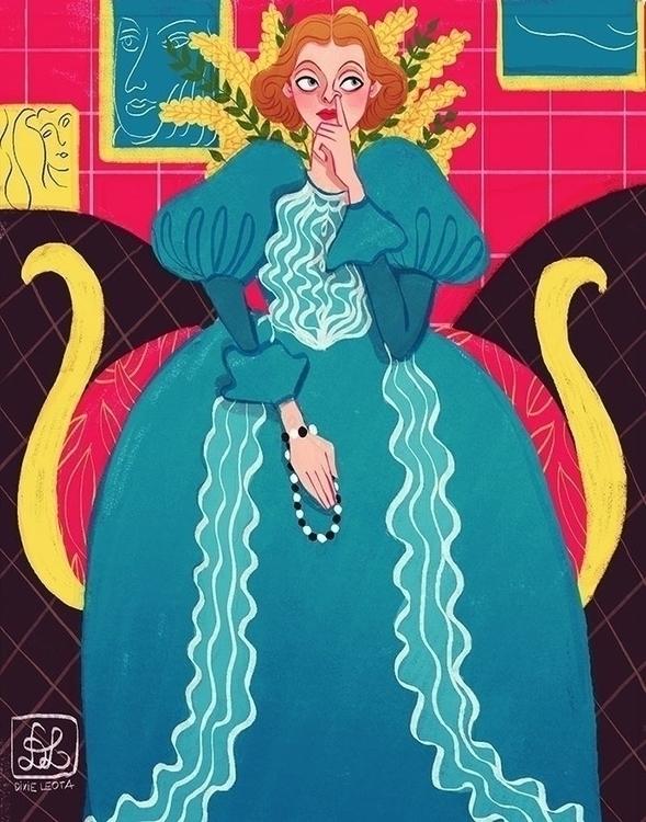 Woman blue - illustration, painting - dixieleota | ello