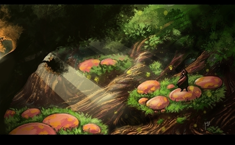 Mushroom Forest - illustration, environment - tieller | ello