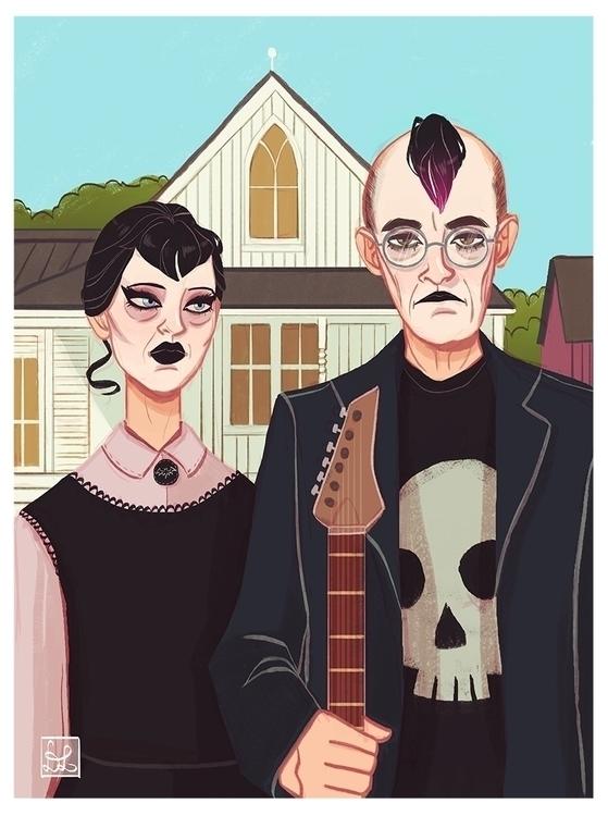 American Gothic - illustration, painting - dixieleota | ello