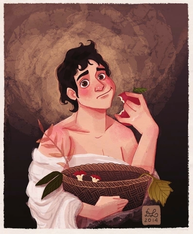 Boy basket fruit - illustration - dixieleota | ello