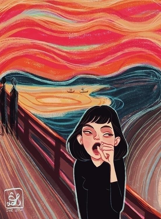 Yawn - illustration, painting, dixieleota - dixieleota | ello
