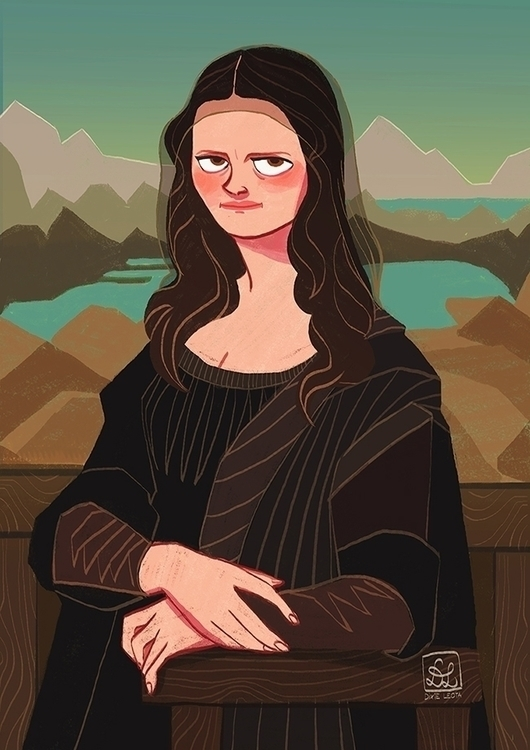 Mona Lisa - illustration, painting - dixieleota | ello