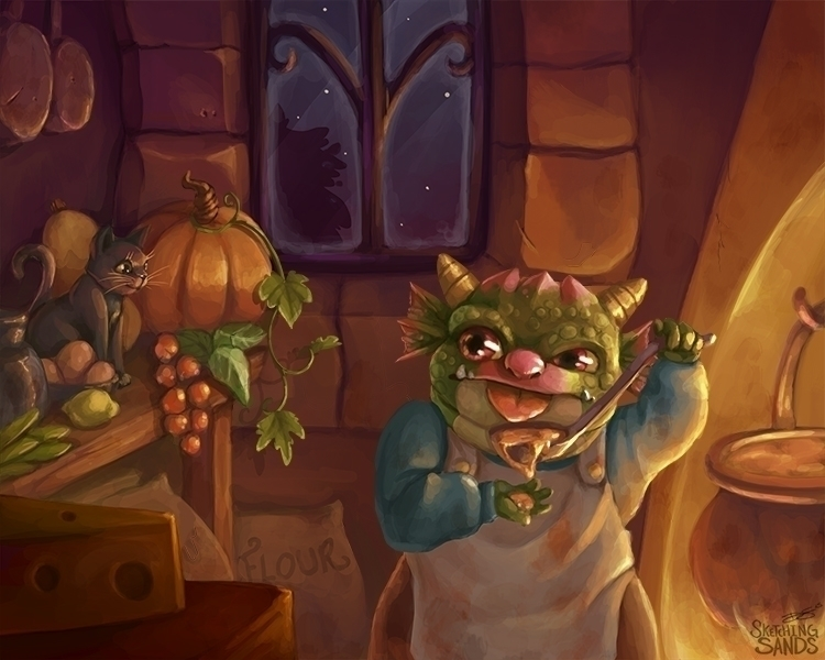 cooking - dragon, illustration, halloween - sketchingsands | ello