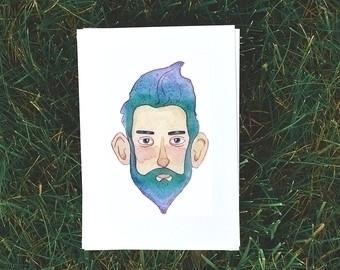 Blue beard man - illustration, painting - bizarreamie | ello