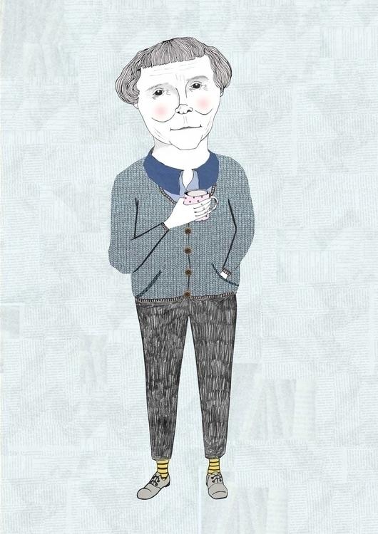 Astrid Lindgren, author - portrait - danisdrawings | ello