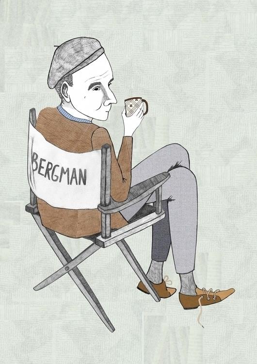 Ingmar Bergman, film director - portrait - danisdrawings | ello