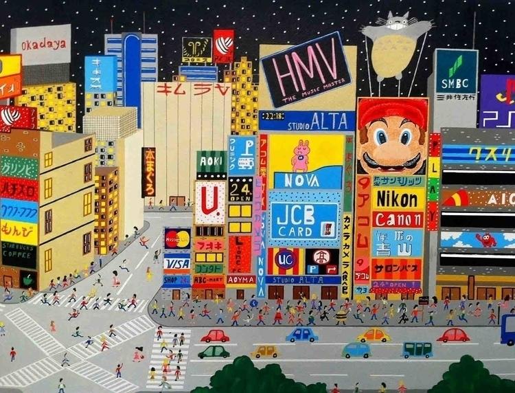 Tokyo, Japan - japan, tokyo, painting - mohanballard | ello