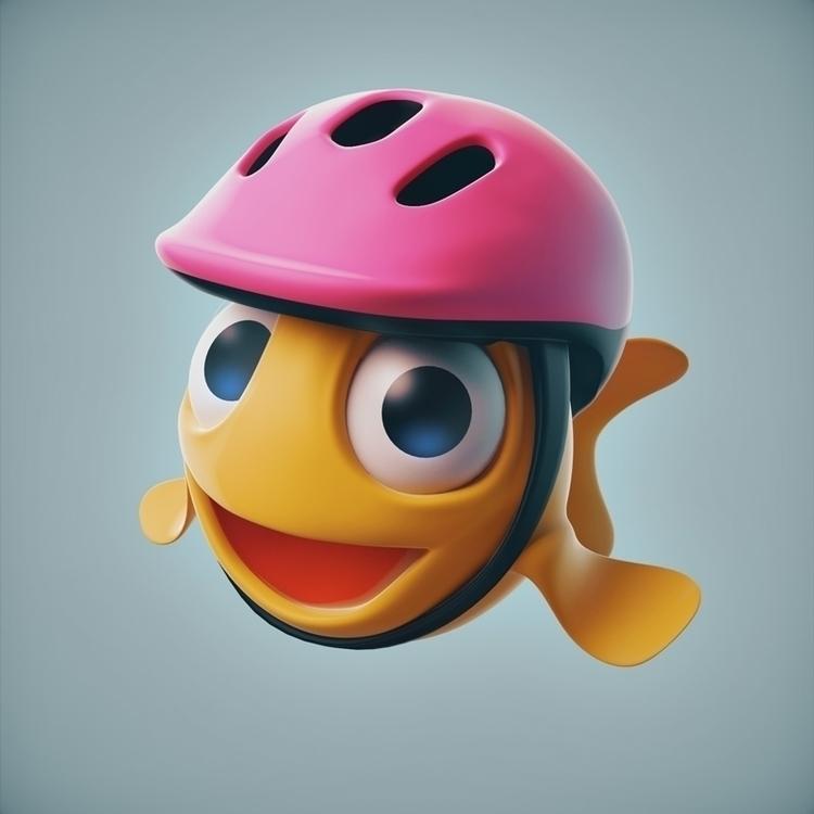 Ride bike safely - fish, helmet - yumekon | ello