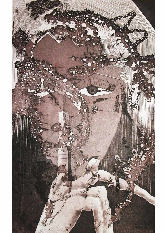 Etching Spirit silence 12x16 - printmaking - the_artylicious_studio | ello