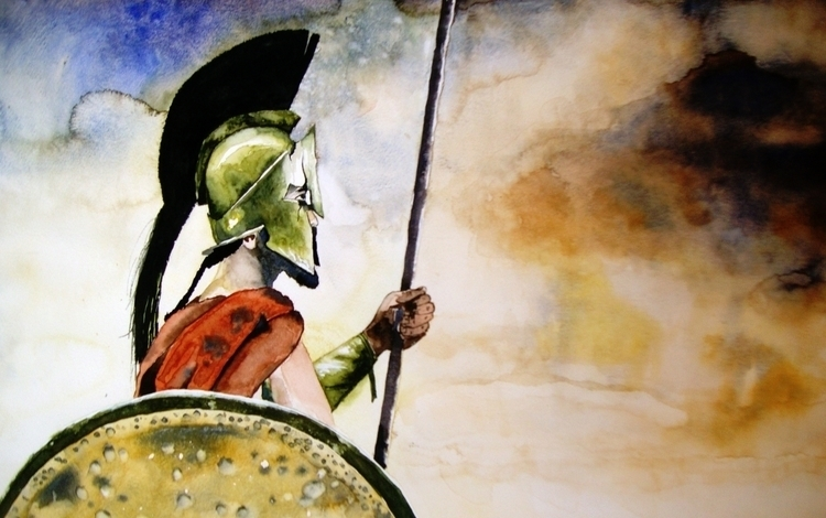 Water Color Spartan 13x20 - painting - the_artylicious_studio | ello