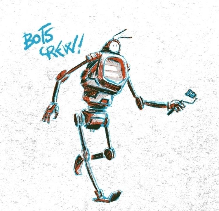 Bots Crew - illustration, ilustracion - xelonxlf | ello