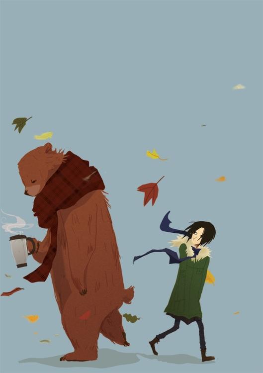 Autumn Walk - bear, girl, nature - hoshinorobin   ello