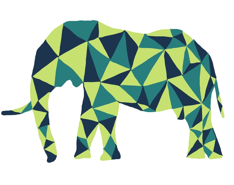 Pixelated Elephant - elephant, colorpalette - carissarenard | ello