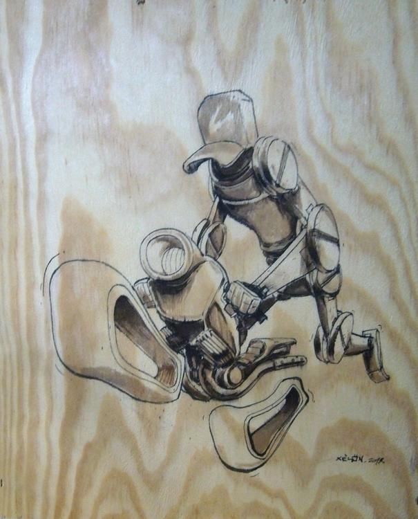 Motorcycle robot - original, wood - xelonxlf | ello