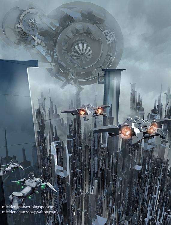 Sci Fi City Michael Lenehan - illustration - mikl-3563 | ello