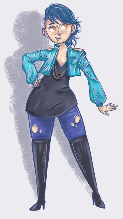 jacket, girl, doodle, illustration - thisjustine | ello