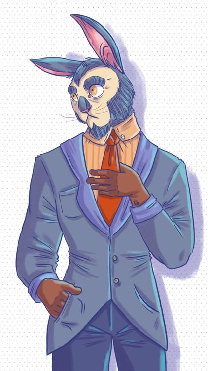 rabbit, suit, formal, doodle - thisjustine | ello