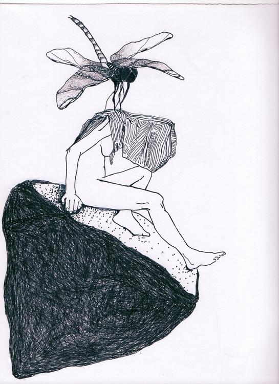 dragonfly - illustration, ink, penink - unselvaggioemezzo | ello