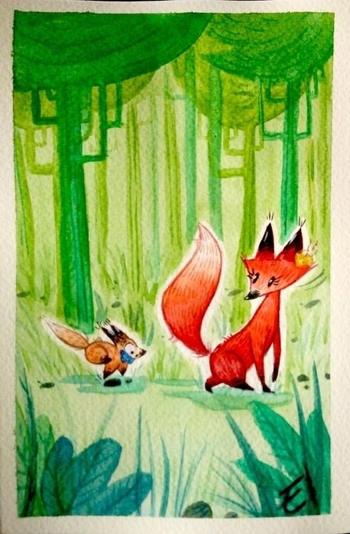 foxes, children'sillustration - el0394 | ello