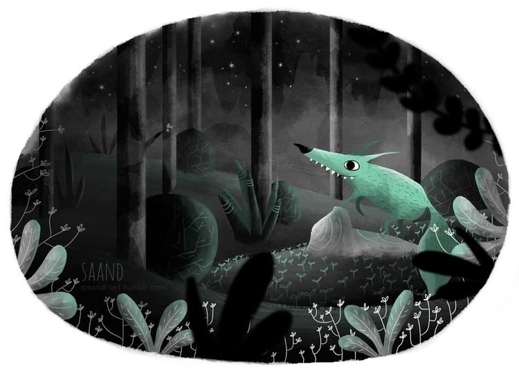 Loup Bleu ~ - illustration, drawing - saand | ello