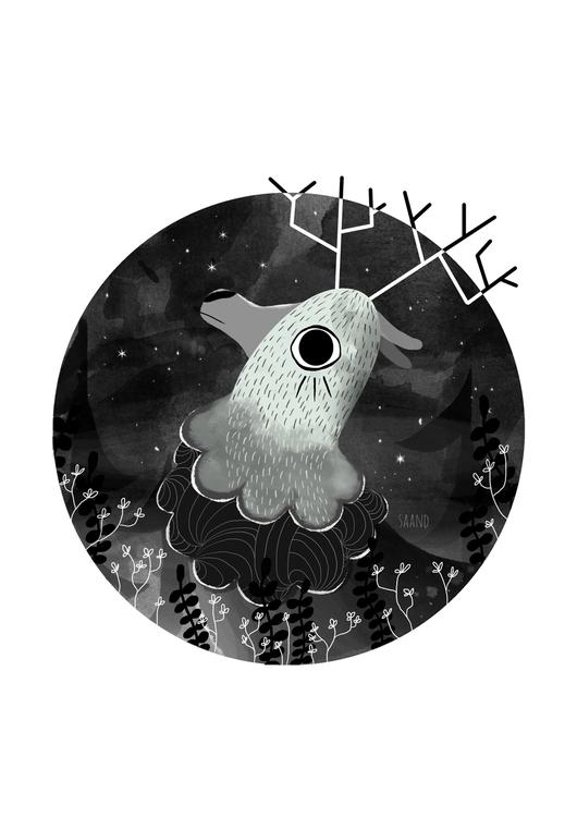 Deer ~ - illustration, drawing, deer - saand | ello