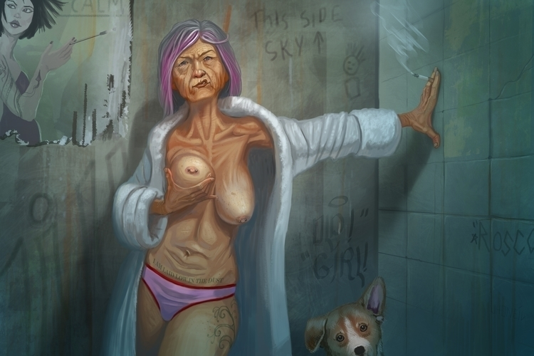 Girl - oldlady, illustration, painting - jhoneil-8423 | ello
