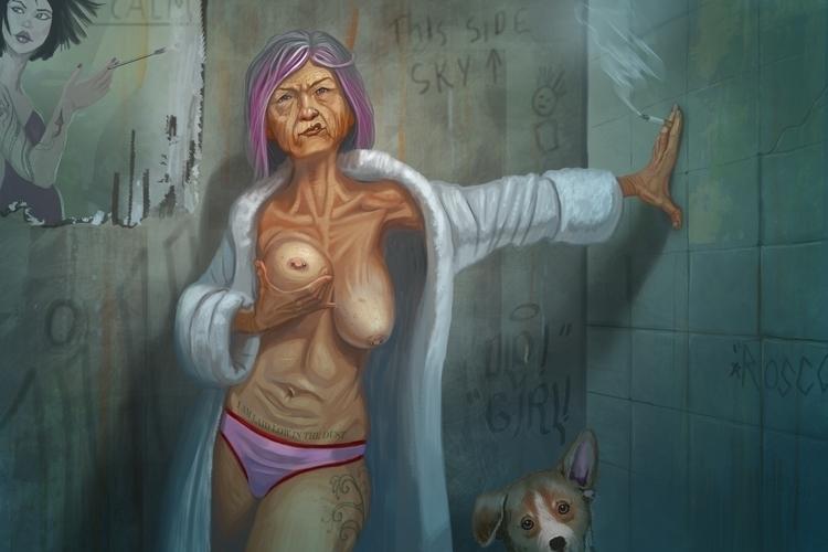 Girl - oldlady, illustration, painting - jhoneil-8423 | ello