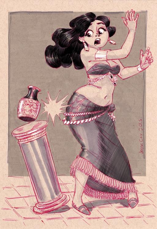 Kind funny sketch belly dancer  - jessecoyart | ello