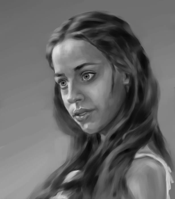 painting, woman, girl, portrait - yanivcahoua | ello