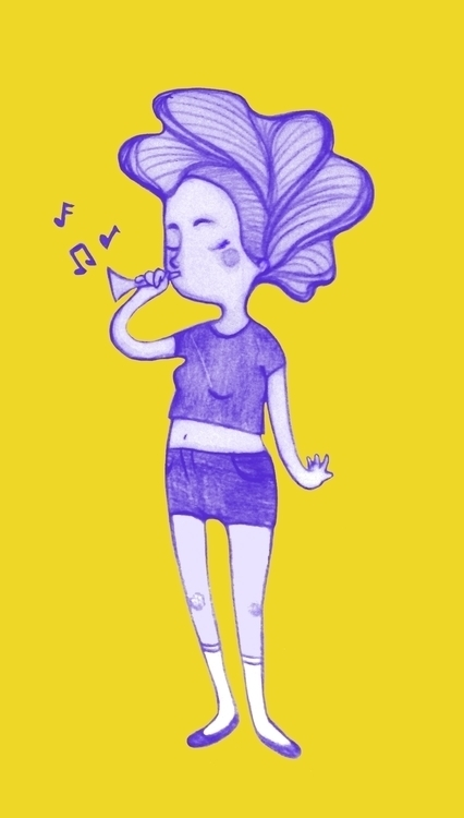 Music - music, girl, yellow, sketch - leyleyleu | ello