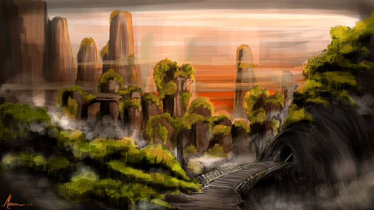 landscape - illustration, painting - moonarun | ello