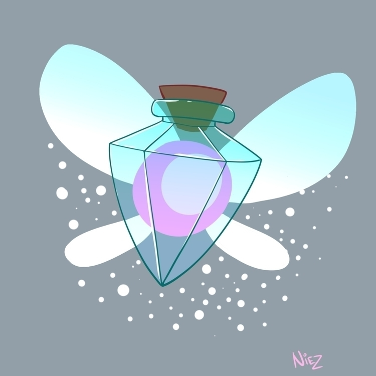 Fairy Bottle - illustration, fanart - dustlight_ | ello