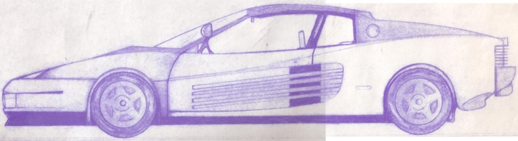 Testarossa illustration - drafting - steersky-1263 | ello