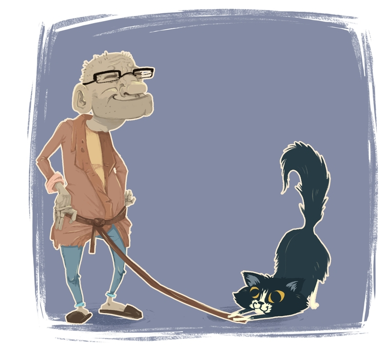grandpa - cat, illustration, drawing - suzigalu | ello