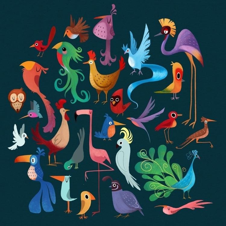 Birds pattern design - birds, characterdesign - ashleyodell | ello