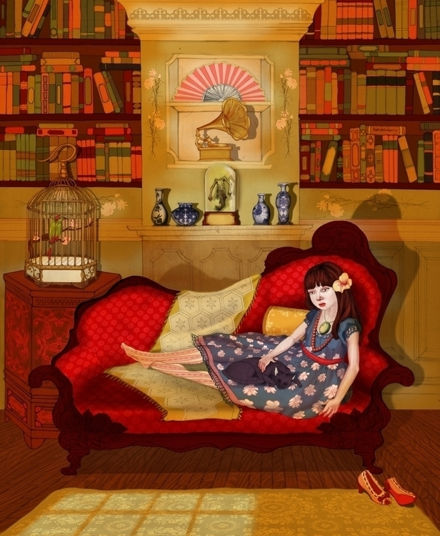 Girl Couch 2009 - illustration, painting - amyconsolo   ello
