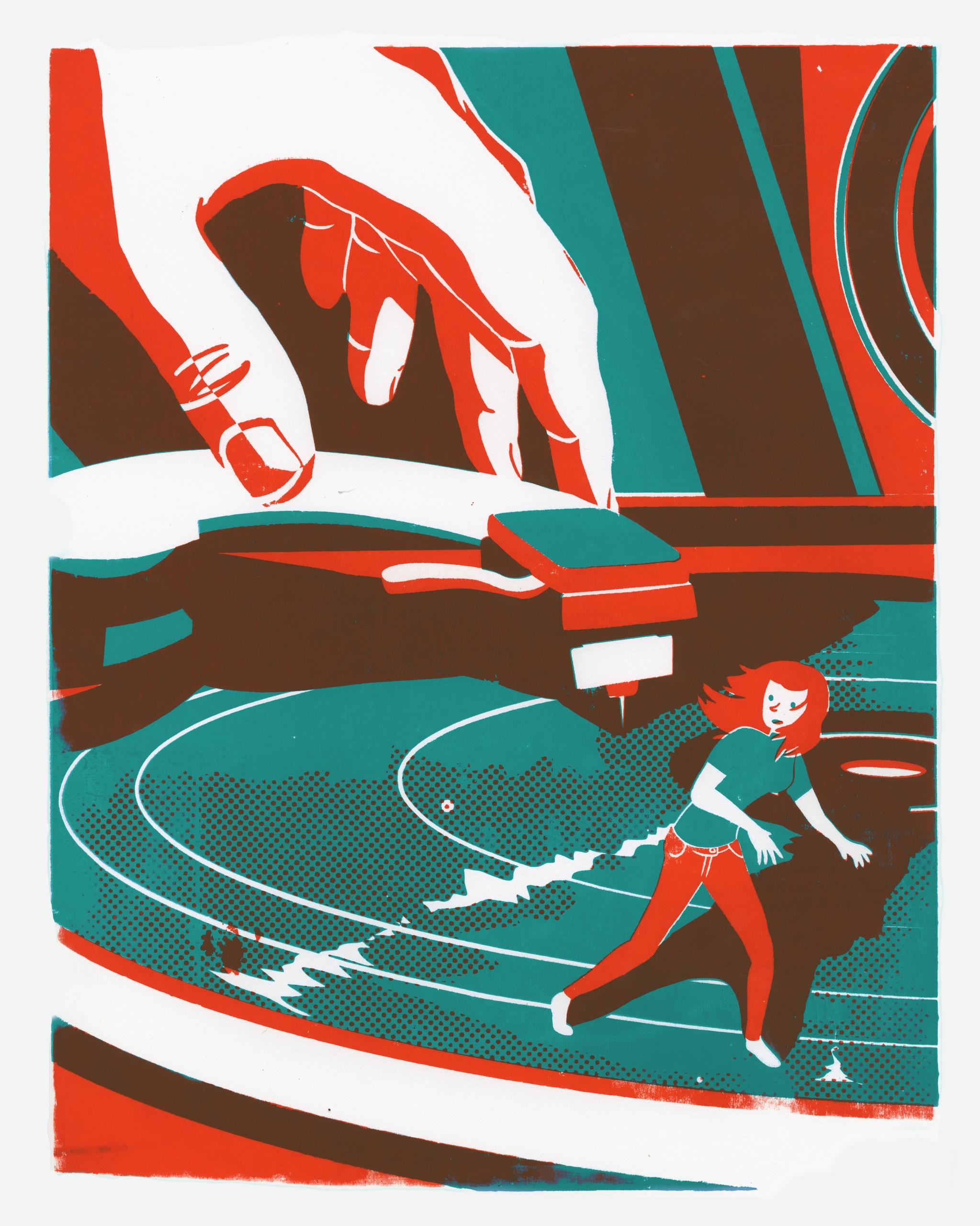 Vinyl Treadmill - illustration, screenprint - rosie-1055 | ello