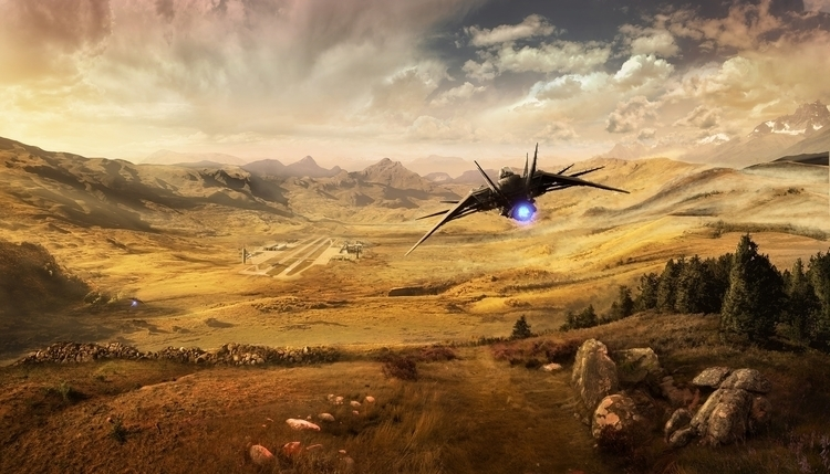 Flying - painting, conceptart, mattepainting - drazic | ello