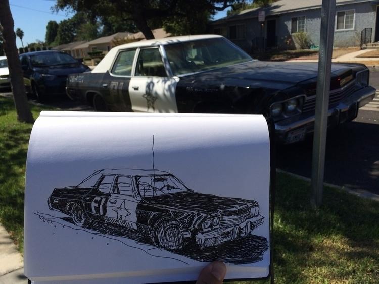 Vintage cop car Burbank - sketches - stefkardos | ello