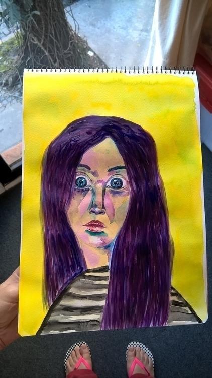 woman - illustration, painting, girl - theotherhalfofthesky   ello