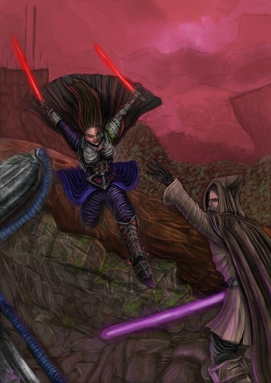 fighting dark side - illustration - gordejuela | ello