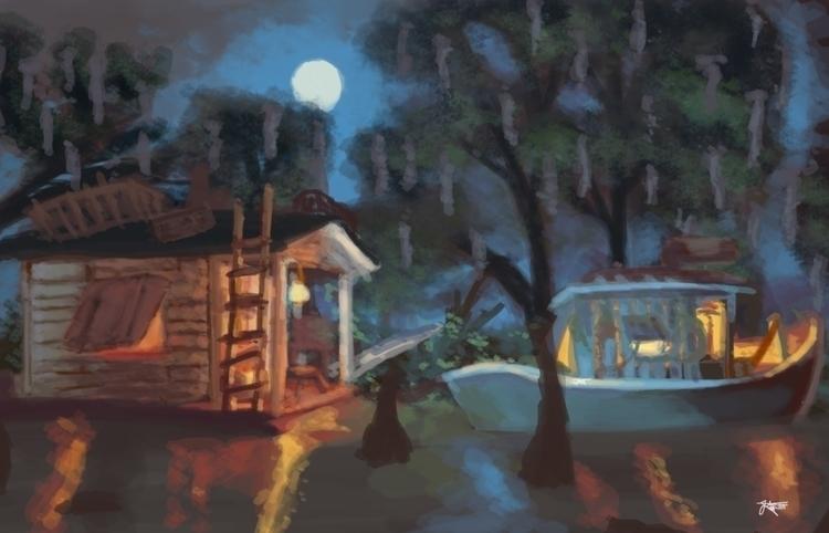 Blue Bayou - illustration, environment - artbyjenisse | ello