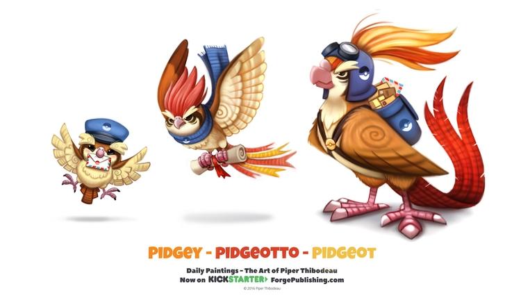 Pidgey - Pidgeotto Pidgeot - piperthibodeau   ello
