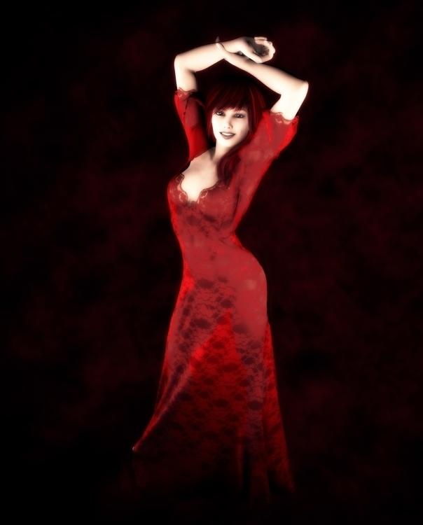 Redhead Lacy Dress - illustration - danac78   ello
