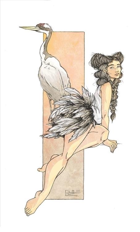 Crane - illustration, digitalart - misscilla | ello