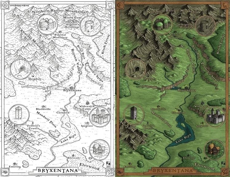 Bryxentana - map, maps, fantasymap - robertaltbauer | ello